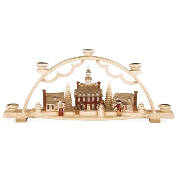 Lichterbogen Schwibbogen ''Ein koloniales Dorf'' mit historischen Figuren natur (LxBxH):47x11x20cm NEU