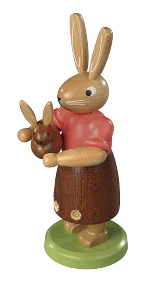 Osterfigur Hasenmutter mit Kind farbig lassiert klein Höhe 11cm NEU