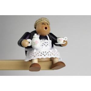 Räucherfigur Kantenhocker Kaffeesächsin 14 cm NEU