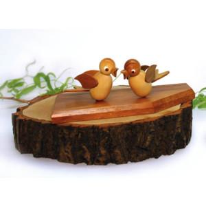 Tischschmuck Tischkartenständer mit zwei Vögeln natur Höhe=13,5cm NEU