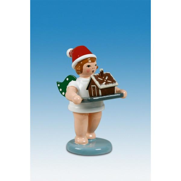 Bäckerengel Weihnachtsengel mit Pfefferkuchenhaus mit Mütze Höhe ca 6 cm NEU