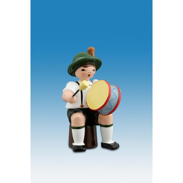 Ganzjahresfiguren Musikant sitzend mit gr. Trommel Höhe ca 7cm NEU
