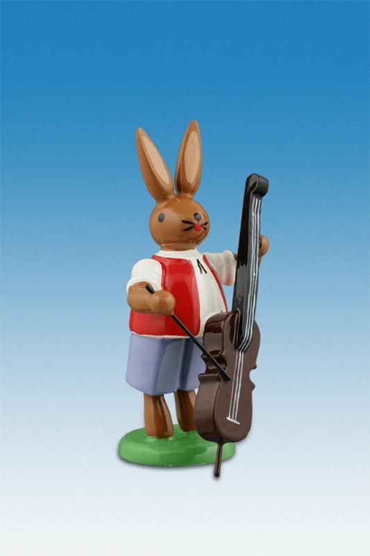 Osterhase Hasenmusikant mit Bassgeige Höhe ca 7,5 cm NEU