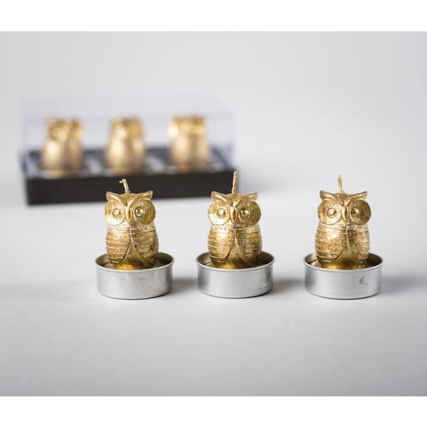 Kerze Eule gold 3er Teelichter 5 cm NEU
