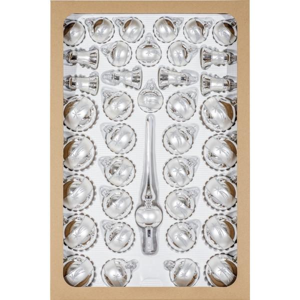 Glaskugelsortiment Silber/Satin-Silber, Dekor 39-teilig, mundgeblasen und handdekoriert 1 Spitze 26cm 6 Glocken 6cm 10 Kugeln 5cm 12 Kugeln 6cm 10 Kugeln 7cm NEU