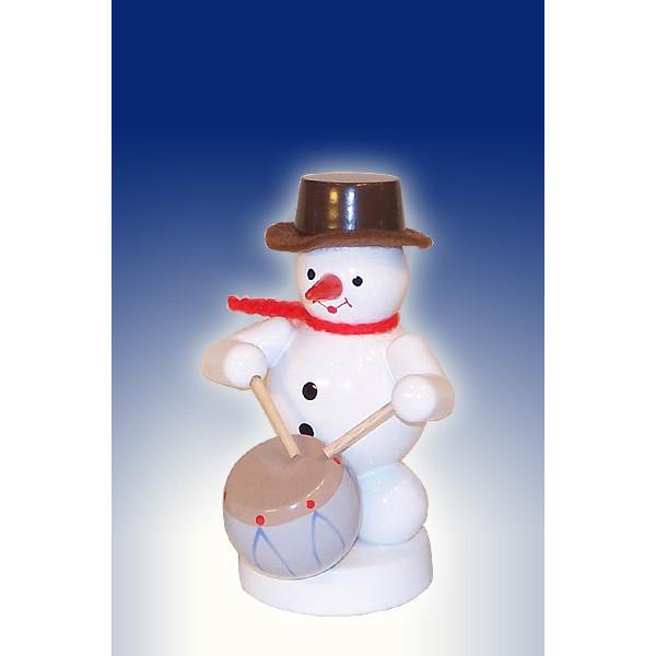 Weihnachtsdekoration Schneemann mit Trommel Höhe 8cm NEU