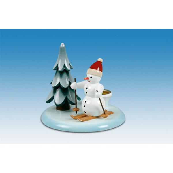 Kerzenhalter Schneemann Skifahrer und Baum Höhe ca 7,0 cm NEU