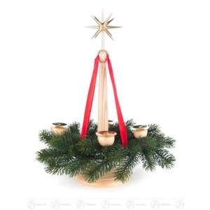 Adventsleuchter Adventsständer mit Band, 4 Kerzenhaltern und Stern, natur, für Kerzen d=20mm (ohne Kranz) Breite x Höhe x Tiefe 15 cmx33,5 cmx15 cm NEU