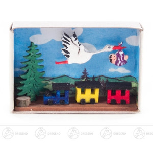 Miniatur Zündholzschachtel mit Storch, Baby und Eisenbahn Breite x Höhe ca 5,5 cmx4 cm NEU