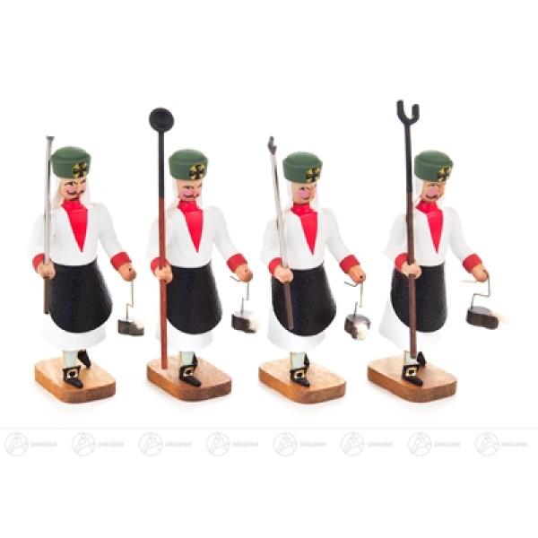 Miniatur Barockbergleute Schmelzer mit verschiedenen Werkzeugen (4) Höhe ca 9 cm NEU