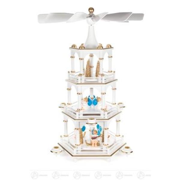 Pyramide mit Engeln weiß, 3-stöckig, für Kerzen d=14mm Breite x Höhe x Tiefe 35 cmx50 cmx35 cm NEU