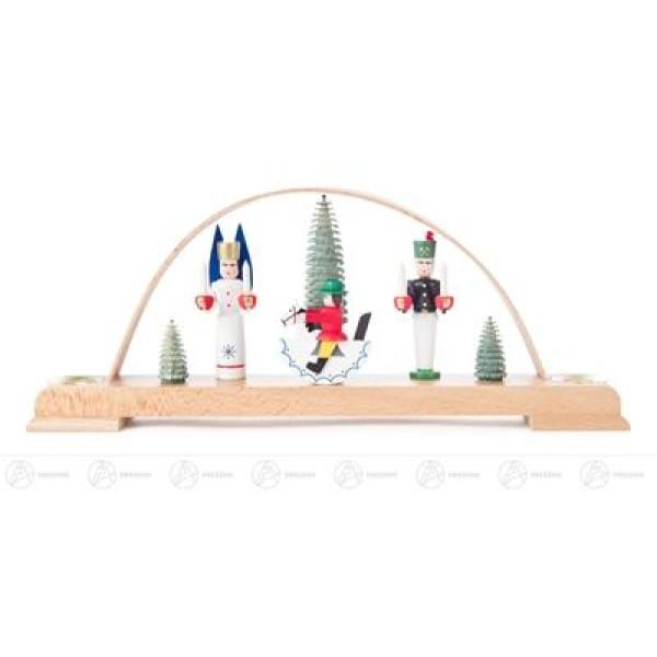 Schwibbogen mit Engel, Bergmann und Reiterlein, farbig, für Kerzen d=14mm Breite x Höhe x Tiefe 28,5 cmx12 cmx4 cm NEU