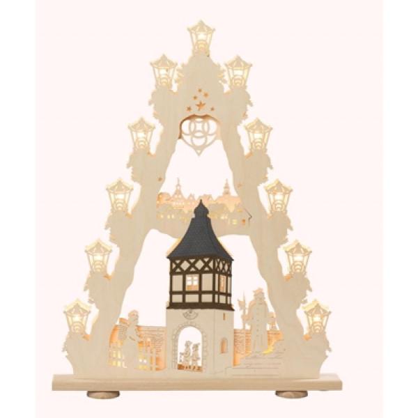 3D-Lichterspitze Burgromantik, 15-flammig elektrisch beleuchtet, mit Innenbeleuchtung 52 x 67 x 6 cm (B x H x T) NEU