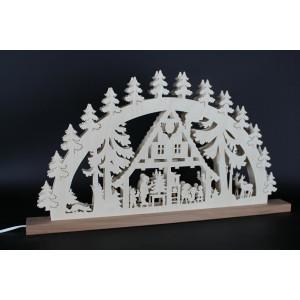 Beleuchteter Schwibbogen Forsthaus mit Familie Größe =60x33cm NEU