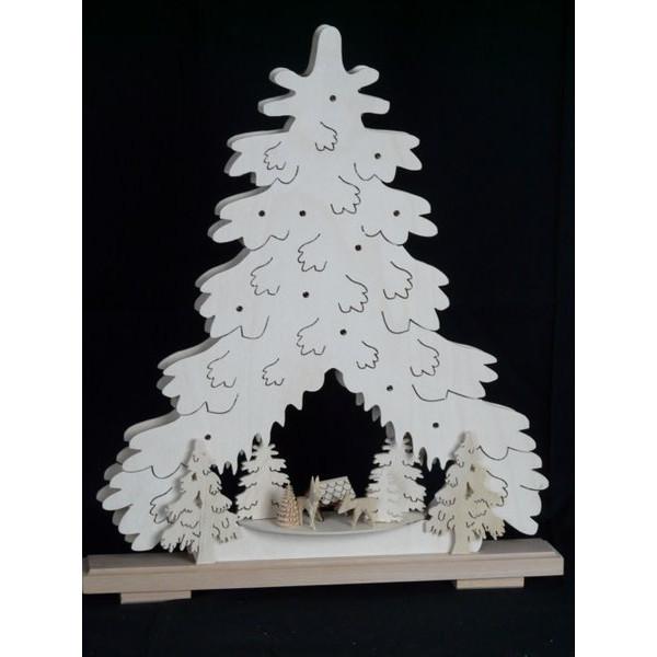 Beleuchteter Schwibbogen Weihnachtstanne mit Futterkrippe und Rehe Größe =44x51cm NEU