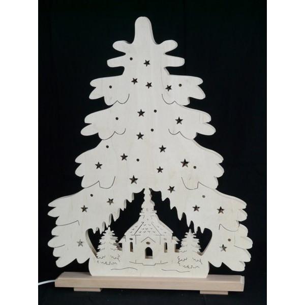 Beleuchteter Schwibbogen Weihnachtstanne mit Seiffener Kirche Größe =44x51cm NEU
