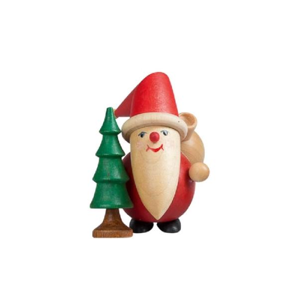 Holzfigur Weihnachtsfigur Lustiger Weihnachtsmann mit Baum ca.8cm NEU