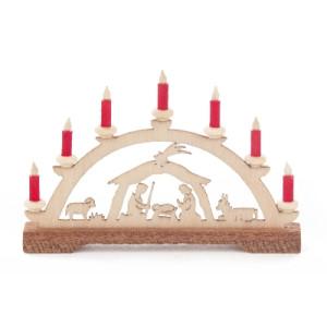Mini-Schwibbogen Christi Geburt, rote Kerzen BxHxT 70x45x10mm NEU