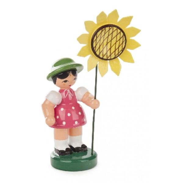 Ostern & Frühjahr Blumenmädchen rosa/grün, Blume gelb BxHxT 25x90x25mm NEU