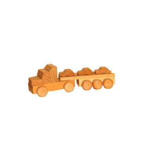 Holzspielzeug Sattelzug mit Autoauflieger natur Länge ca. 15 cm NEU