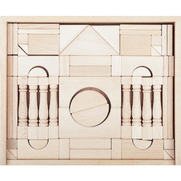 Holzspielzeug Holzbaukasten mit Säulen 11 Steine LxBxH 345x285x60mm NEU