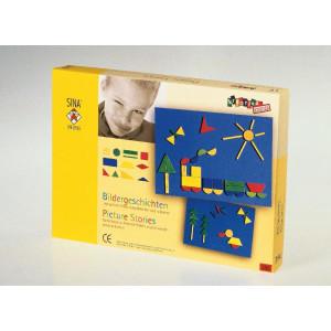 Holzspielzeug Legespiel Bildergeschichten LxBxH 310x225x35mm NEU