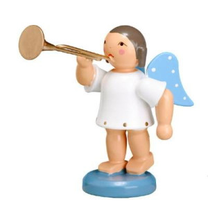 Engel mit Fanfare,blaue Flügel 6,0cm ESCO Volkskunst Deko Seiffen NEU 9671