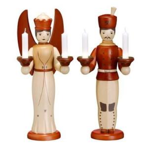 Weihnachtsfiguren Engel und Bergmann braun H= 32cm NEU