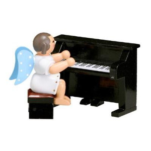 Engel mit Klavier,blaue Flügel 6,0cm ESCO Volkskunst Deko Seiffen NEU 9666