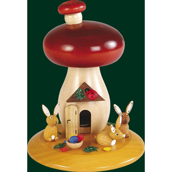 Räucherfigur Weihnachten Erzgebirge Seiffen Räucherpilz Hasen 26325 NEU