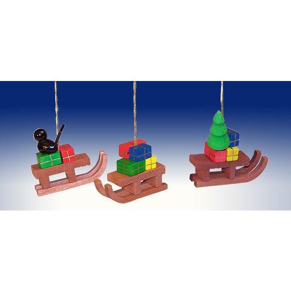 Weihnachtsdekoration Schlitten mit Geschenken BxHxT 4x5x1,5cm NEU