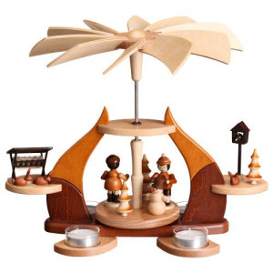Designpyramide Erzgebirgsfiguren natur mit Teelichter HxLxB 28x34x27cm NEU