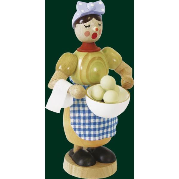 Räuchermann Figur original Erzgebirge Seiffen Räucherfrau mit Klößen 02607 NEU