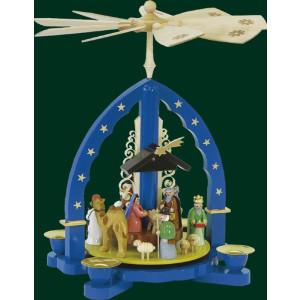 Tischpyramide Heilige 3 Könige in Blau Pyramide Handarbeit Erzgebirge NEU 01603