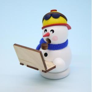 70-78-1 Räuchermann Schneemann Bloggi mit Laptop Erzgebirge Seiffen Weihnachten