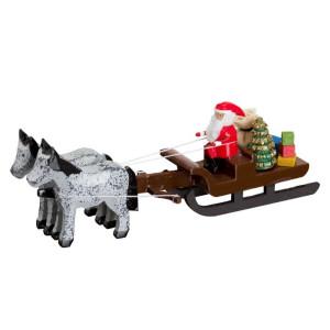 Pferdeschlitten mit Weihnachtsmann Miniaturgespann Länge 9cm NEU