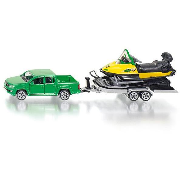 2548 Siku Super VW Amarok mit Anhänger + Snowmobil 1:50 Auto mit Hänger NEU TOP