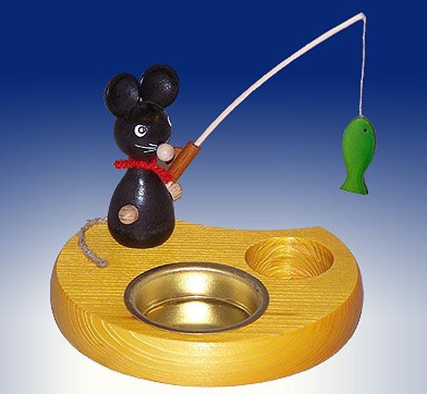 Ganzjahresdekoration Maus mit Angel und Fisch Höhe 6cm NEU