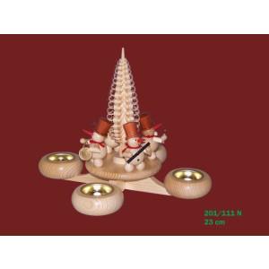 Weihnachtsdekoration Adventsleuchter mit Schneemänner natur BxHxt 22,5x22,5x22,5cm NEU