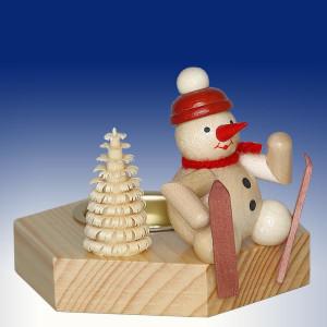 Weihnachtsdekoration Teelichthalter Schneemann Skifahrer sitzend natur BxHxT 6,5x7x6,5cm NEU