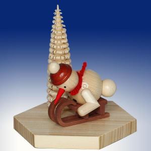 Weihnachtsdekoration Sockel Schneemann mit Schlitten natur BxHxT 6,5x10x6,5cm NEU