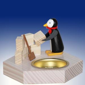 Weihnachtsdekoration Teelichthalter Pinguin beim Iglu Bau bunt BxHxT 6,5x6,5x6,5cm NEU