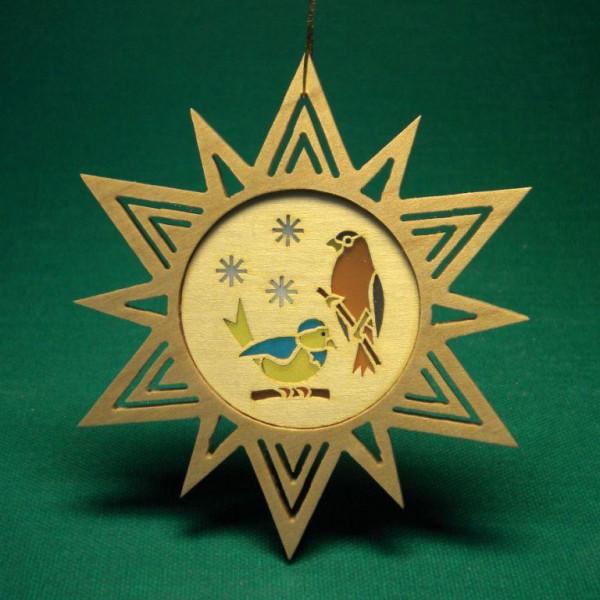 Baumbehang Stern + Vögel 7 cm Christbaumschmuck Baumschmuck NEU Seiffen 11325