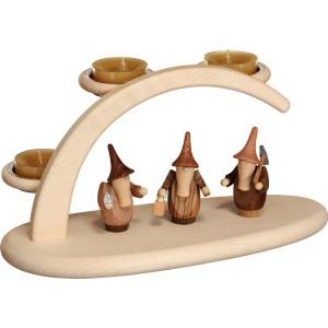 Schwibbogen mit Teelichter und Gnomen HxBxT = 13x24x12cm NEU