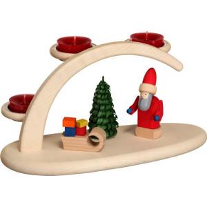 Schwibbogen mit Weihnachtsmann und Teelichter HxBxT = 13x24x12cm NEU