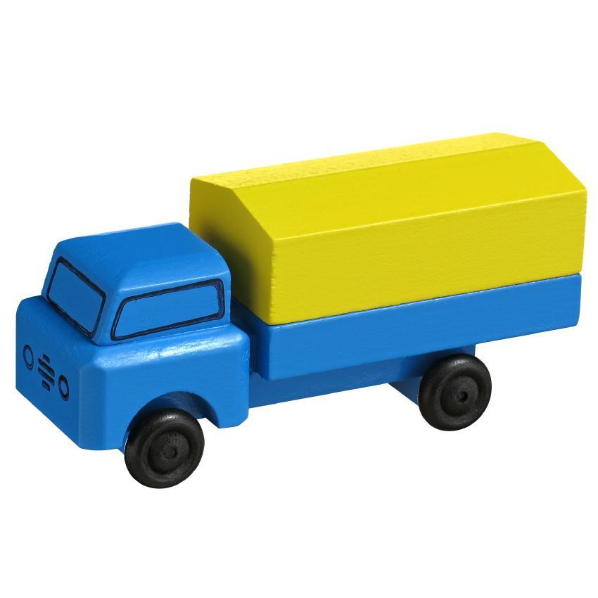 Holzspielzeug Lastenauto mit Plane HxBxT 3,5x7,5x3cm NEU