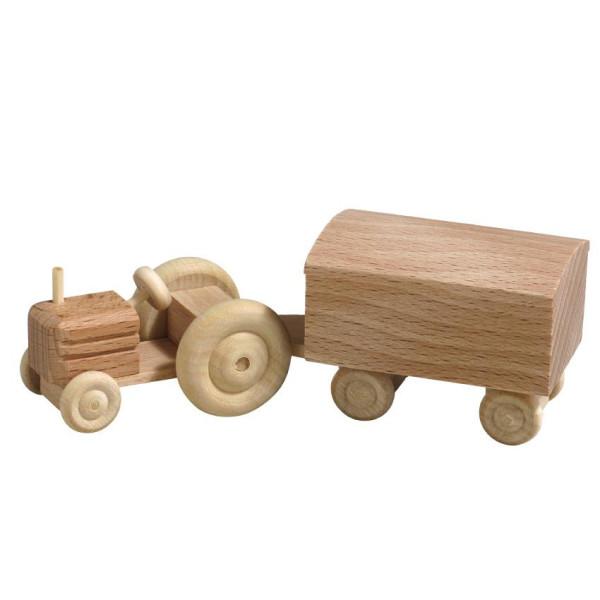 Holzspielzeug Traktor mit Kastenanhänger natur HxBxT 3,5x7,5x3cm NEU