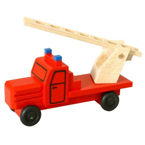 Holzspielzeug Feuerwehrauto Drehleiter HxBxT 4x7,5x3cm NEU