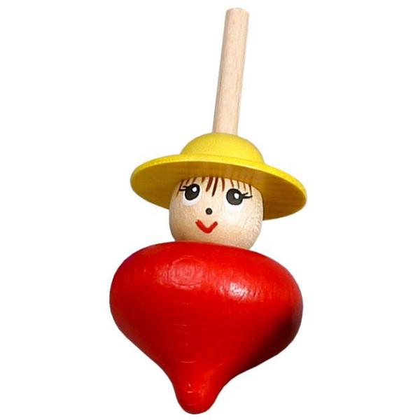 Holzspielzeug Tischkreisel Frau rot Höhe=6cm Tischkreisel Frau rot