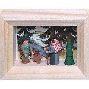 Weihnachtsdekoration Miniaturrahmen Förster und Buschweibl BxH 5,5x7 cm NEU